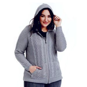 Torrid Grey Cable Knit Hooded Sweater Front Zip Hoodie Jacket Ribbed Trim 00